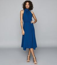 REISS JENNA MIDI DRESS WITH BOW DETAIL COBALT BLUE ~ uneven hemlines
