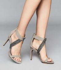 Reiss JEWEL EMBELLISHED STILETTO HEELS TAUPE / glamorous strappy high heel sandals