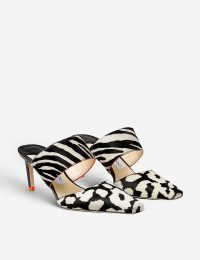 JIMMY CHOO Hawke 65 animal-print heeled leather mules in BLACK/WHITE/ORANGE – monochrome mule