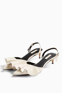 TOPSHOP JULES White Frill Slingback Shoes – vintage style slingbacks