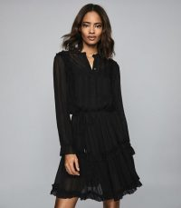 REISS JUSTINA SEMI SHEER MINI DRESS BLACK ~ feminine lbd