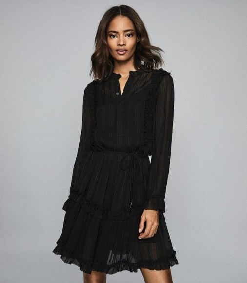 REISS JUSTINA SEMI SHEER MINI DRESS BLACK ~ feminine lbd - flipped