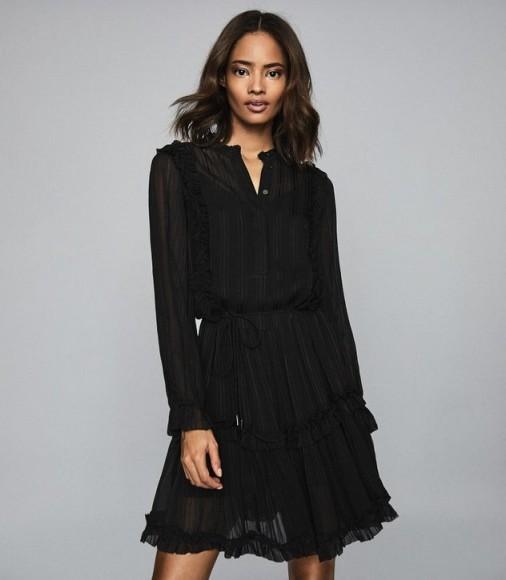 REISS JUSTINA SEMI SHEER MINI DRESS BLACK ~ feminine lbd