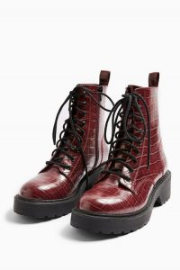 TOPSHOP KACY Burgundy Chunky Boots
