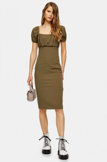 TOPSHOP Khaki Puff Sleeve Midi Dress – dark green dresses
