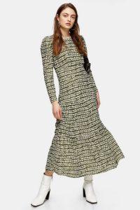 TOPSHOP Khaki Tiered Midi Dress