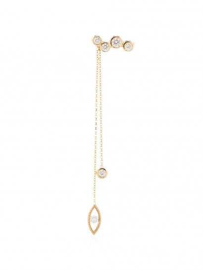 KIMAI 18kt yellow gold Evidence diamond drop earring ~ long single earrings
