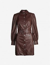 KITRI Button-through faux-leather mini dress in chocolate