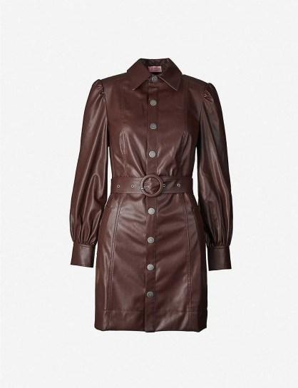 KITRI Button-through faux-leather mini dress in chocolate - flipped