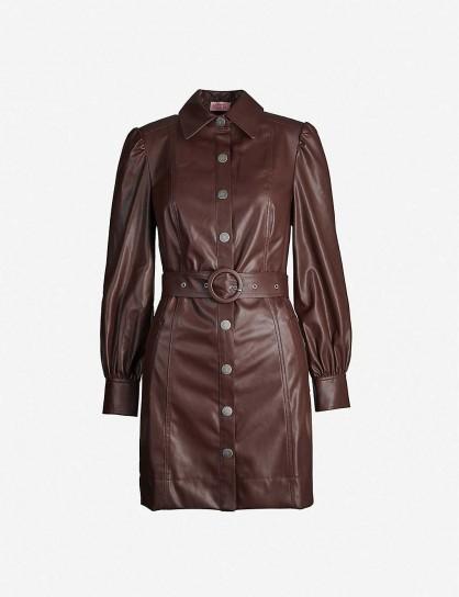 KITRI Button-through faux-leather mini dress in chocolate