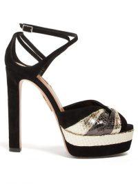 AQUAZZURA La Di Da 130 metallic-leather and suede sandals in black | strappy platforms