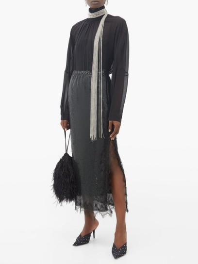 CHRISTOPHER KANE Lace-trim chainmail midi skirt in black ~ side slit event skirts