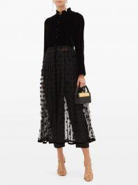 LORETTA CAPONI Lara velvet and polka-dot tulle midi dress in black ~ sheer dresses