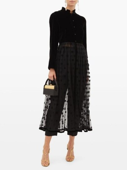 LORETTA CAPONI Lara velvet and polka-dot tulle midi dress in black ~ sheer dresses - flipped