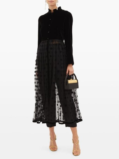 LORETTA CAPONI Lara velvet and polka-dot tulle midi dress in black ~ sheer dresses