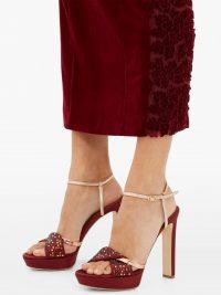 MALONE SOULIERS Lauren crystal-embellished satin platform sandals in dark-red ~ luxe event heels