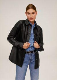 MANGO Leather overshirt in Black