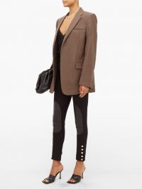 BURBERRY Leather-patch stretch-cotton trousers in black ~ luxury skinnies