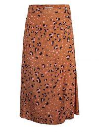 OLIVER BONAS Leopard Print Tan Midi Skirt | wrap style skirts