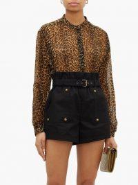 SAINT LAURENT Leopard-print asymmetric-hem wool blouse in brown