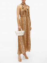 HILLIER BARTLEY Leopard-print pussy-bow one-shoulder satin dress ~ glamorous animal prints