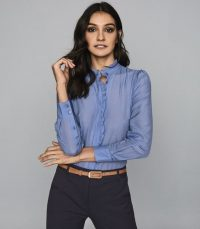REISS LIDDY RUFFLE DETAILED SHIRT BLUE