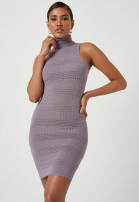 MISSGUIDED lilac high neck knitted mini dress