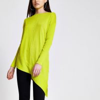RIVER ISLAND Lime asymmetric long sleeve knitted jumper