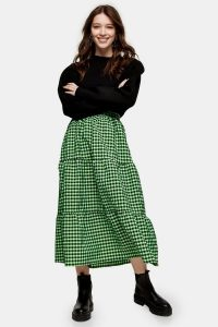 TOPSHOP Lime Green Gingham Check Tiered Midi Skirt