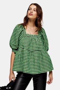 TOPSHOP Lime Green Neon Check Chuck On Blouse