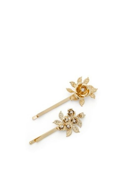ROSANTICA Lirica crystal-embellished floral hair clips - flipped