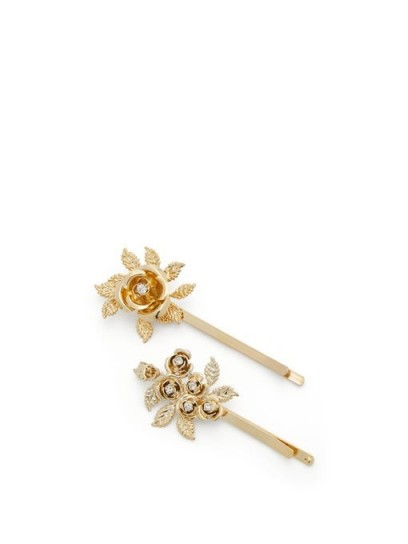 ROSANTICA Lirica crystal-embellished floral hair clips
