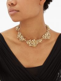 ROSANTICA Lirica crystal-embellished rose necklace | gold-tone statement necklaces