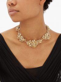 ROSANTICA Lirica crystal-embellished rose necklace | gold-tone statement necklaces