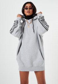 lissy roddy x missguided grey graphic hoodie dress