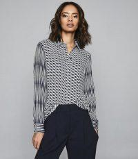 REISS LIVVY DIAMOND PRINTED SHIRT NAVY / blue multi print shirts