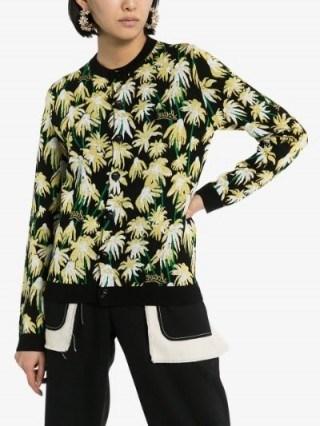 Loewe Daisy Jacquard Cardigan in black / designer knits - flipped