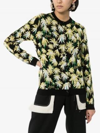 Loewe Daisy Jacquard Cardigan in black / designer knits