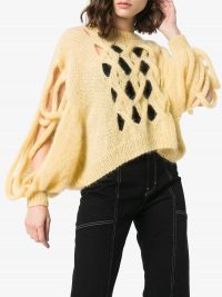 LOEWE Hole detail cable knit jumper in vanilla-yellow