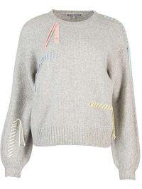 OLIVER BONAS Loose Ends Stitch Grey Kn | embellished jumpersitted Jumper