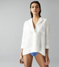 REISS LORETTA LINEN OVERHEAD BEACH SHIRT WHITE ~ poolside tops
