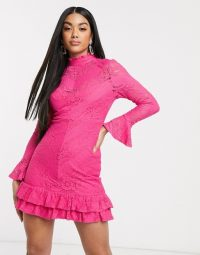 Love Triangle high neck lace mini dress in hot pink – bright party dresses