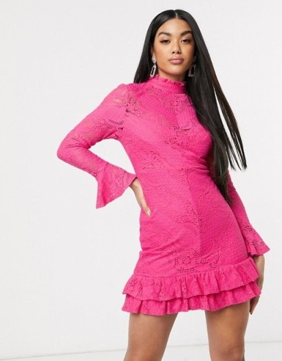 Love Triangle high neck lace mini dress in hot pink – bright party dresses - flipped