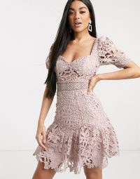 Love Triangle milkmaid lace skater mini dress in taupe – party dresses