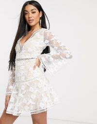 Love Triangle plunge dress in barely there lace midi dress