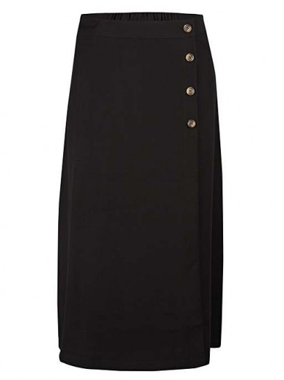 OLIVER BONAS Luxe Button Black Midi Skirt