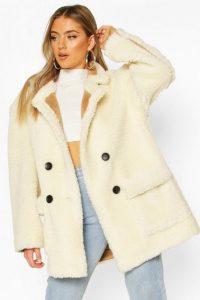 boohoo Luxe Lined Teddy Faux Fur Oversized Coat in Cream