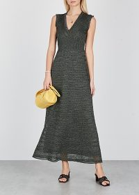 M MISSONI Dark green metallic-knit maxi dress ~ fine knits – luxe knitwear