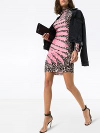 MAISIE WILEN turtleneck wave print mini dress pink – ruched high neck dresses