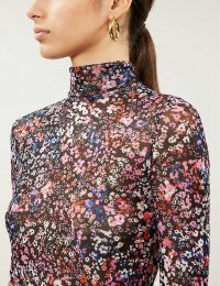 MAJE Floral-print mesh top in multi coloured – high neck tops